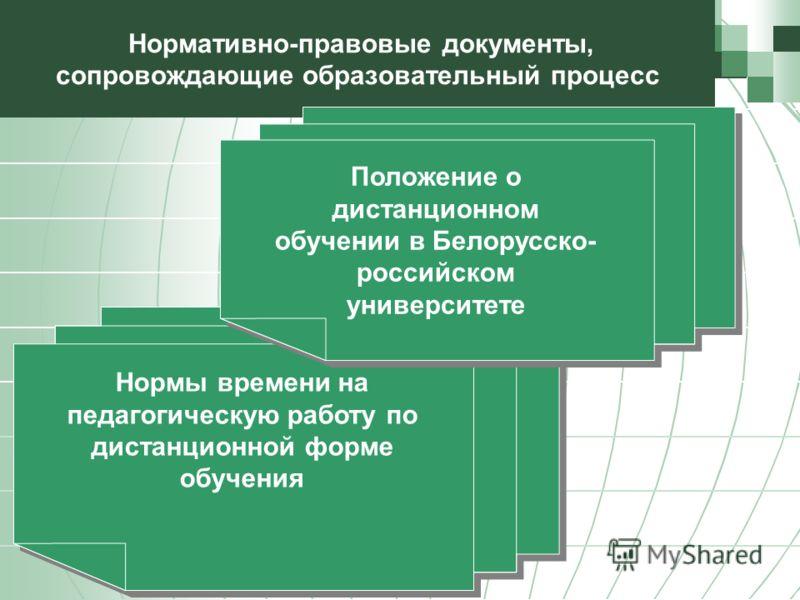 Нормативно-правовые документы, сопровождающие образовательный процесс Нормы времени на педагогическую работу по дистанционной форме обучения Положение о дистанционном обучении в Белорусско- российском университете