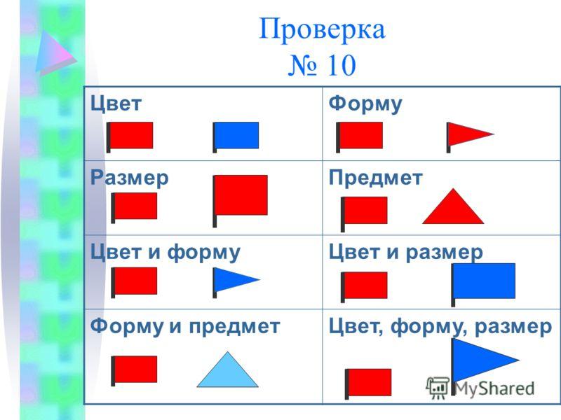Проверка 10 ЦветФорму РазмерПредмет Цвет и формуЦвет и размер Форму и предметЦвет, форму, размер