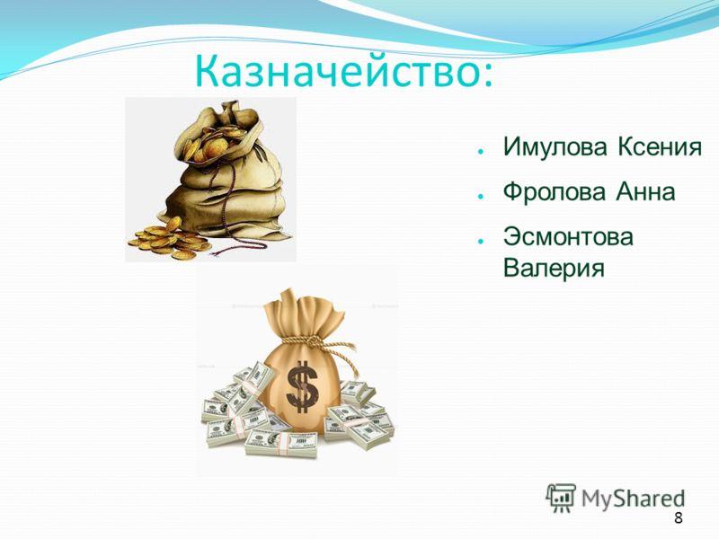 8 Казначейство: Имулова Ксения Фролова Анна Эсмонтова Валерия