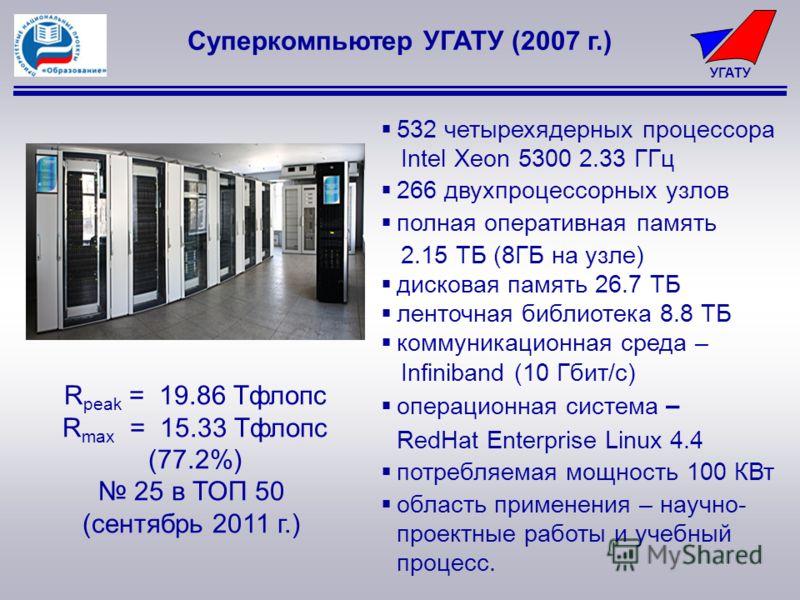 УГАТУ Суперкомпьютер УГАТУ (2007 г.) 532 четырехядерных процессора Intel Xeon 5300 2.33 ГГц 266 двухпроцессорных узлов полная оперативная память 2.15 ТБ (8ГБ на узле) дисковая память 26.7 ТБ ленточная библиотека 8.8 ТБ коммуникационная среда – Infini