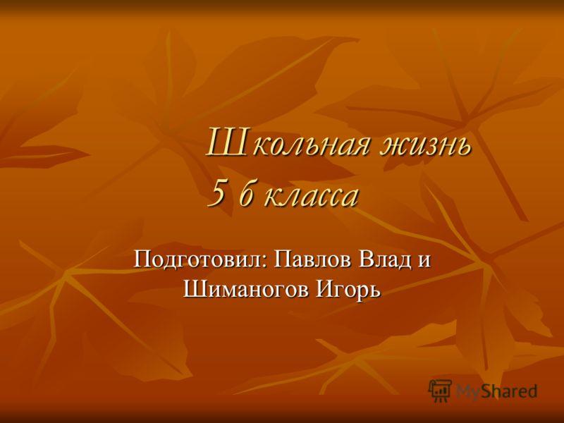 Школьная жизнь 5 б класса Подготовил: Павлов Влад и Шиманогов Игорь