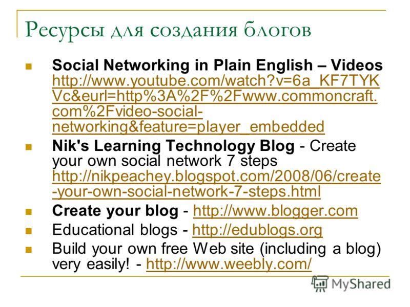 Ресурсы для создания блогов Social Networking in Plain English – Videos http://www.youtube.com/watch?v=6a_KF7TYK Vc&eurl=http%3A%2F%2Fwww.commoncraft. com%2Fvideo-social- networking&feature=player_embedded http://www.youtube.com/watch?v=6a_KF7TYK Vc&