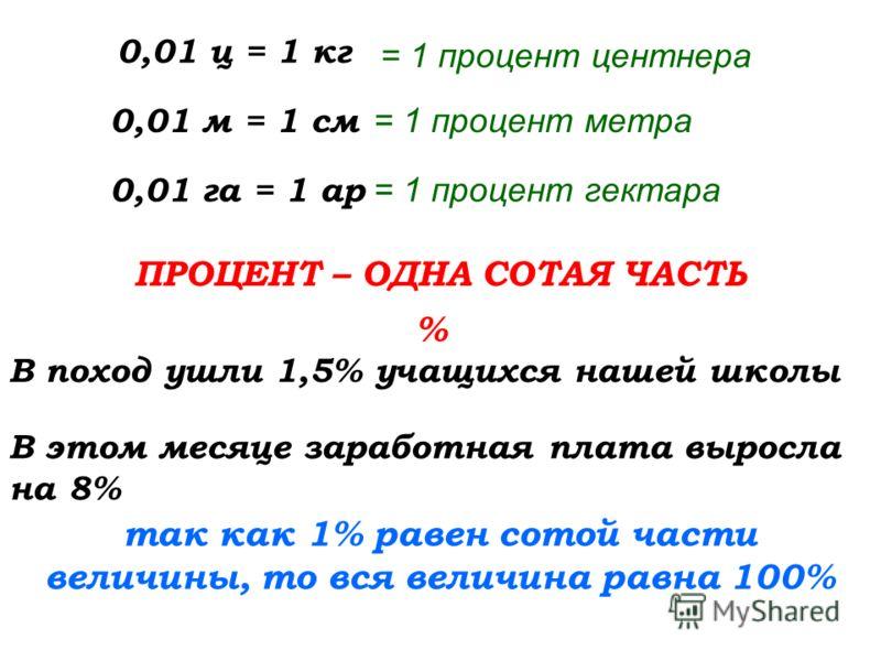 0,01 ц = 1 кг В поход ушли 1,5% учащихся нашей школы 0,01 м = 1 см 0,01 га = 1 ар ПРОЦЕНТ – ОДНА СОТАЯ ЧАСТЬ = 1 процент центнера = 1 процент метра = 1 процент гектара % В этом месяце заработная плата выросла на 8% так как 1% равен сотой части величи