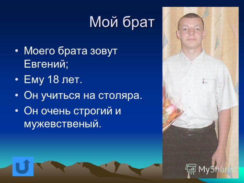 Мой брат Моего брата зовут Александр; Моего брата зовут Александр; Ему 19 лет. Ему 19 лет. Он работает сварщиком на Елатомском МСЗ. Он работает сварщиком на Елатомском МСЗ.
