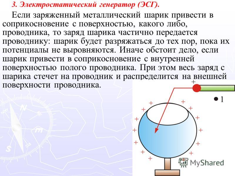 3. Электростатический генератор (ЭСГ). Если заряженный металлический шарик привести в соприкосновение с поверхностью, какого либо, проводника, то заряд шарика частично передается проводнику: шарик будет разряжаться до тех пор, пока их потенциалы не в