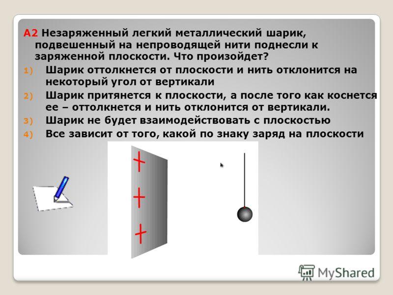 А2 Незаряженный легкий металлический шарик, подвешенный на непроводящей нити поднесли к заряженной плоскости. Что произойдет? 1) Шарик оттолкнется от плоскости и нить отклонится на некоторый угол от вертикали 2) Шарик притянется к плоскости, а после