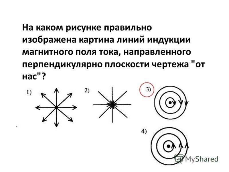 На каком рисунке правильно изображена картина линий индукции магнитного поля тока, направленного перпендикулярно плоскости чертежа от нас?