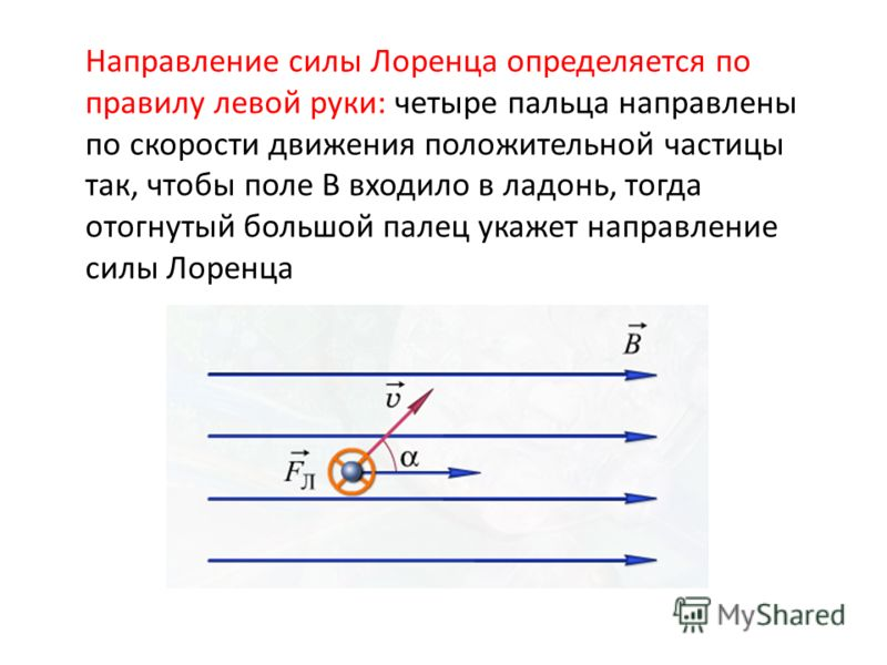 Направление силы Лоренца определяется по правилу левой руки: четыре пальца направлены по скорости движения положительной частицы так, чтобы поле В входило в ладонь, тогда отогнутый большой палец укажет направление силы Лоренца