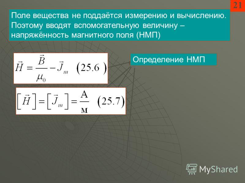 Поле вещества не поддаётся измерению и вычислению. Поэтому вводят вспомогательную величину – напряжённость магнитного поля (НМП) 21 Определение НМП