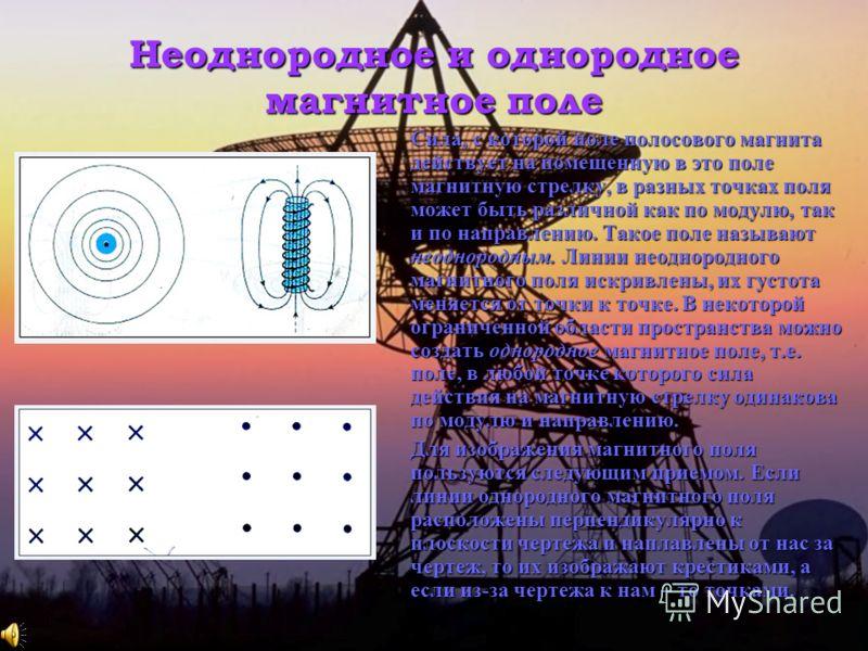 Неоднородное и однородное магнитное поле Сила, с которой поле полосового магнита действует на помещенную в это поле магнитную стрелку, в разных точках поля может быть различной как по модулю, так и по направлению. Такое поле называют неоднородным. Ли