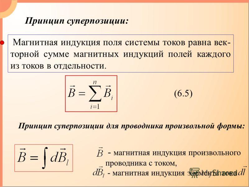 Принцип суперпозиции: Магнитная индукция поля системы токов равна век- торной сумме магнитных индукций полей каждого из токов в отдельности. (6.5) Принцип суперпозиции для проводника произвольной формы: - магнитная индукция произвольного проводника с