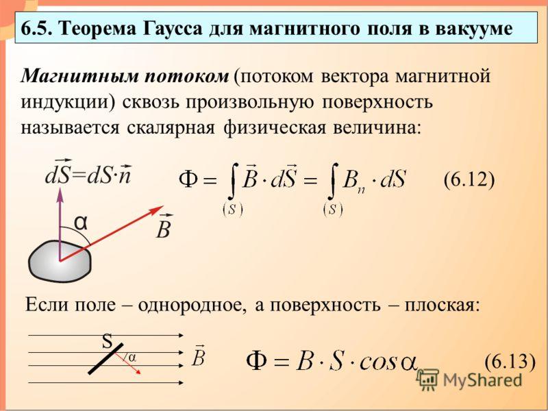 6.5. Теорема Гаусса для магнитного поля в вакууме (6.12) (6.13) Если поле – однородное, а поверхность – плоская: Магнитным потоком (потоком вектора магнитной индукции) сквозь произвольную поверхность называется скалярная физическая величина: α S