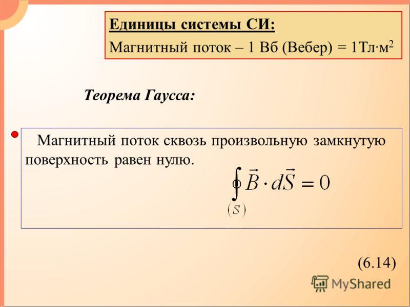 Единицы системы СИ: Магнитный поток – 1 Вб (Вебер) = 1Тл·м 2 Теорема Гаусса: Магнитный поток сквозь произвольную замкнутую поверхность равен нулю. (6.14)