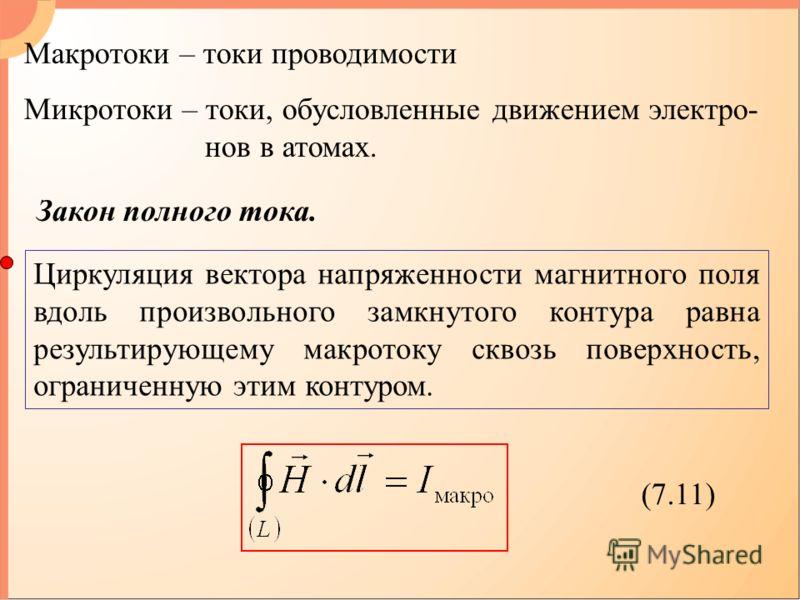 Закон полного тока. Циркуляция вектора напряженности магнитного поля вдоль произвольного замкнутого контура равна результирующему макротоку сквозь поверхность, ограниченную этим контуром. (7.11) Макротоки – токи проводимости Микротоки – токи, обуслов