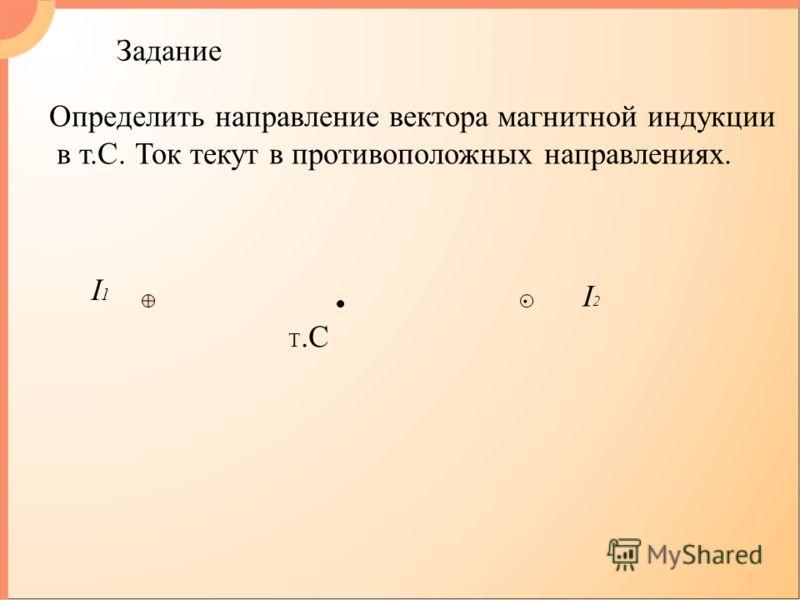 Задание I1I1 I2I2. Т.С Определить направление вектора магнитной индукции в т.С. Ток текут в противоположных направлениях.