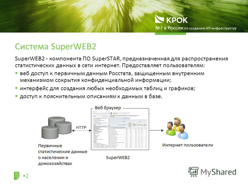 SuperWEB2 - компонента ПО SuperSTAR, предназначенная для распространения статистических данных в сети интернет. Предоставляет пользователям: веб доступ к первичным данным Росстата, защищенным внутренним механизмом сокрытия конфиденциальной информации