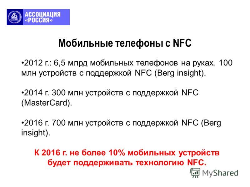 Мобильные телефоны с NFC 2012 г.: 6,5 млрд мобильных телефонов на руках. 100 млн устройств с поддержкой NFC (Berg insight). 2014 г. 300 млн устройств с поддержкой NFC (MasterCard). 2016 г. 700 млн устройств с поддержкой NFC (Berg insight). К 2016 г.