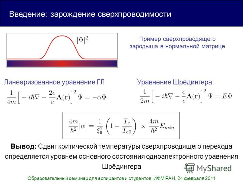 Образовательный семинар для аспирантов и студентов, ИФМ РАН, 24 февраля 2011 Линеаризованное уравнение ГЛУравнение Шрёдингера Введение: зарождение сверхпроводимости Пример сверхпроводящего зародыша в нормальной матрице Вывод: Сдвиг критической темпер
