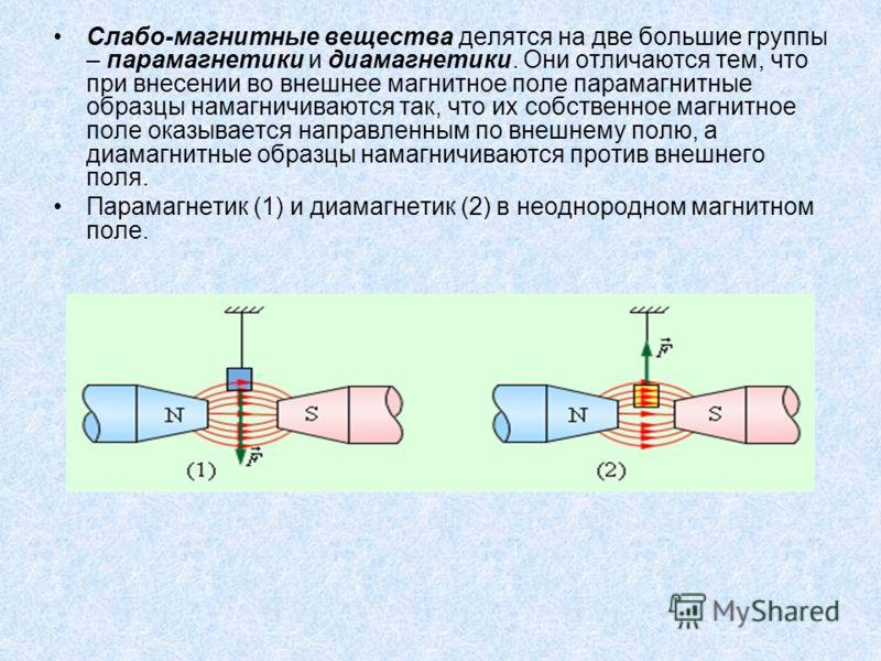 Слабо-магнитные вещества делятся на две большие группы – парамагнетики и диамагнетики. Они отличаются тем, что при внесении во внешнее магнитное поле парамагнитные образцы намагничиваются так, что их собственное магнитное поле оказывается направленны