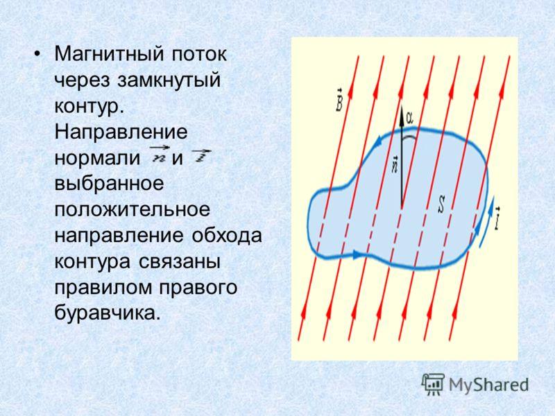 Магнитный поток через замкнутый контур. Направление нормали и выбранное положительное направление обхода контура связаны правилом правого буравчика.