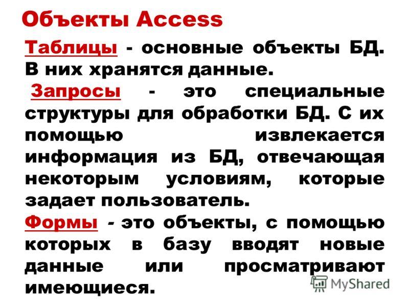 Объекты Access Таблицы - основные объекты БД. В них хранятся данные. Запросы - это специальные структуры для обработки БД. С их помощью извлекается информация из БД, отвечающая некоторым условиям, которые задает пользователь. Формы - это объекты, с п