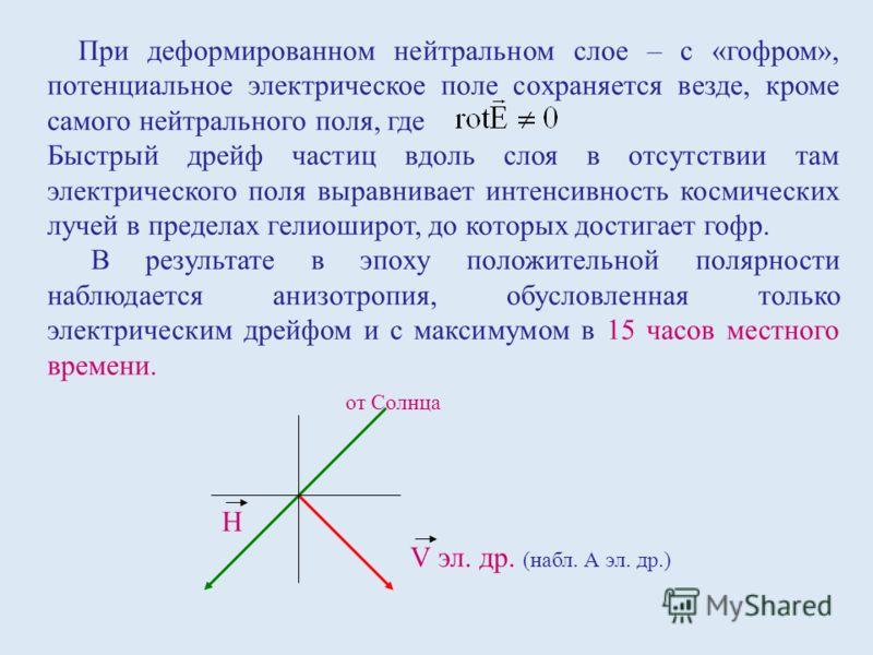 При деформированном нейтральном слое – с «гофром», потенциальное электрическое поле сохраняется везде, кроме самого нейтрального поля, где Быстрый дрейф частиц вдоль слоя в отсутствии там электрического поля выравнивает интенсивность космических луче