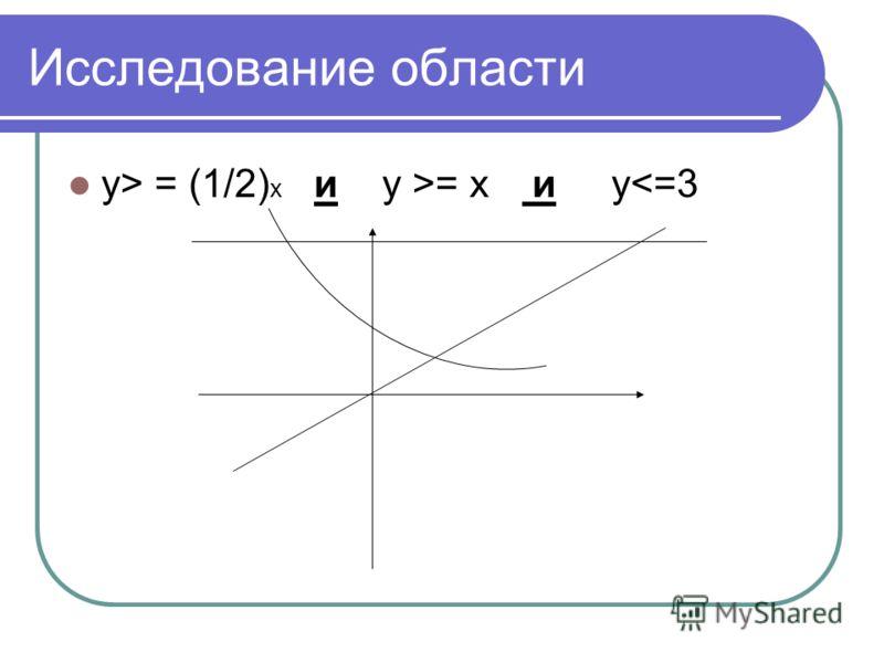 Исследование области y> = (1/2) х и у >= х и у