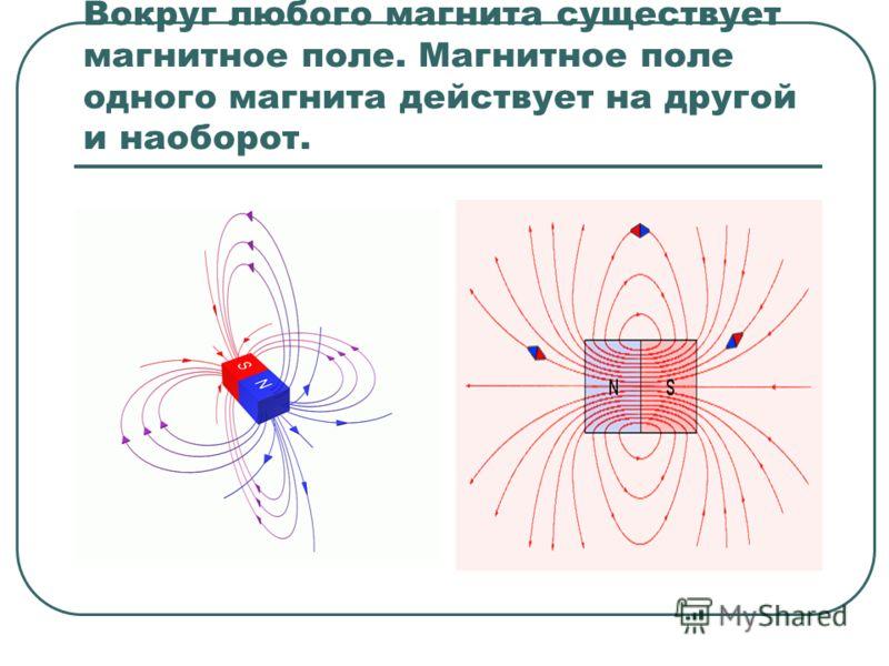 Вокруг любого магнита существует магнитное поле. Магнитное поле одного магнита действует на другой и наоборот.