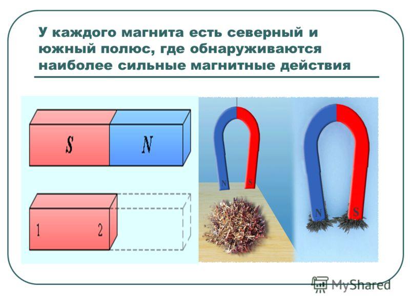 У каждого магнита есть северный и южный полюс, где обнаруживаются наиболее сильные магнитные действия