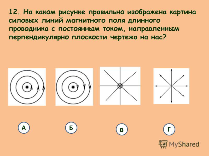 12. На каком рисунке правильно изображена картина силовых линий магнитного поля длинного проводника с постоянным током, направленным перпендикулярно плоскости чертежа на нас? АБ в Г