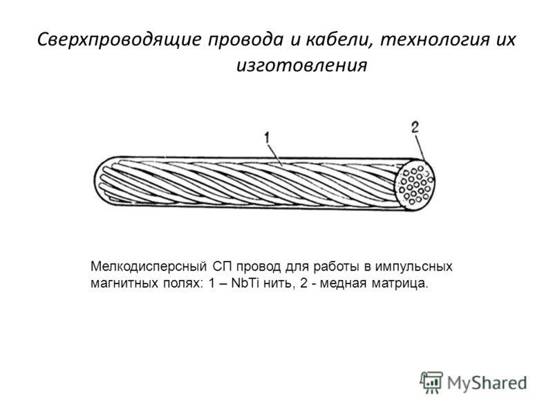 Сверхпроводящие провода и кабели, технология их изготовления Мелкодисперсный СП провод для работы в импульсных магнитных полях: 1 – NbTi нить, 2 - медная матрица.