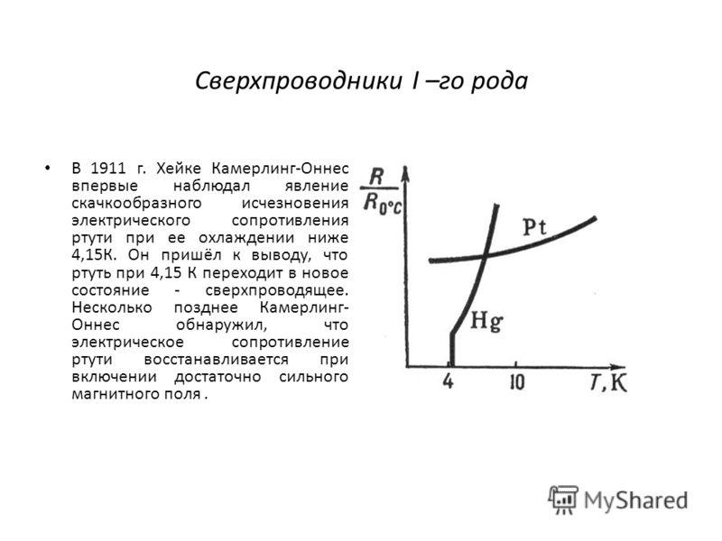 Сверхпроводники I –го рода В 1911 г. Xейке Камерлинг-Оннес впервые наблюдал явление скачкообразного исчезновения электрического сопротивления ртути при ее охлаждении ниже 4,15К. Он пришёл к выводу, что ртуть при 4,15 К переходит в новое состояние - с