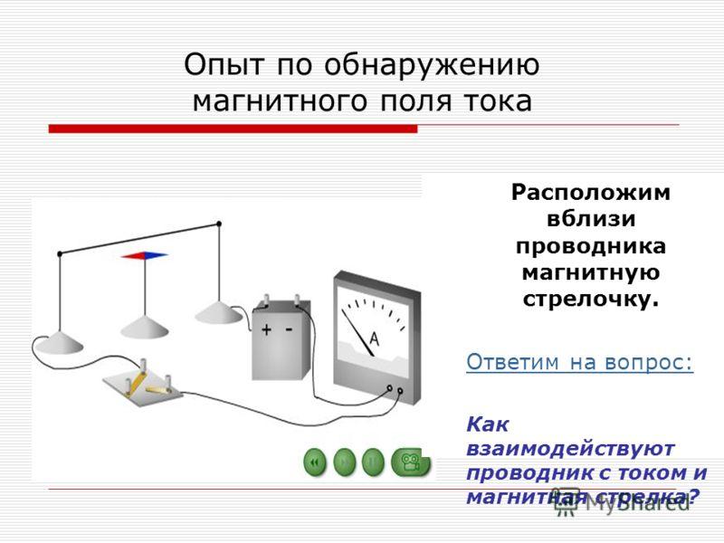 Опыт по обнаружению магнитного поля тока Расположим вблизи проводника магнитную стрелочку. Ответим на вопрос: Как взаимодействуют проводник с током и магнитная стрелка?