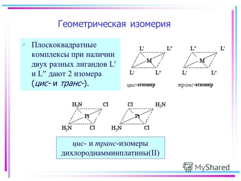 Геометрическая изомерия Плоскоквадратные комплексы при наличии двух разных лигандов L и L дают 2 изомера (цис- и транс-). цис- и транс-изомеры дихлородиамминплатины(II)