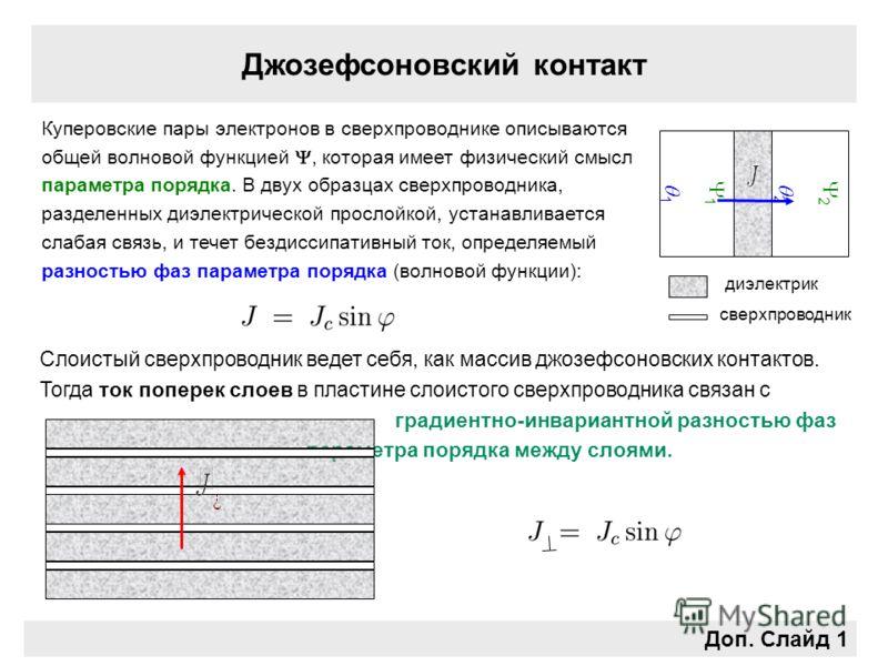 Джозефсоновский контакт Доп. Слайд 1 1 Слоистый сверхпроводник ведет себя, как массив джозефсоновских контактов. Тогда ток поперек слоев в пластине слоистого сверхпроводника связан с градиентно-инвариантной разностью фаз параметра порядка между слоям