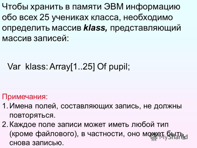 5 Чтобы хранить в памяти ЭВМ информацию обо всех 25 учениках класса, необходимо определить массив klass, представляющий массив записей: Примечания: 1.Имена полей, составляющих запись, не должны повторяться. 2.Каждое поле записи может иметь любой тип