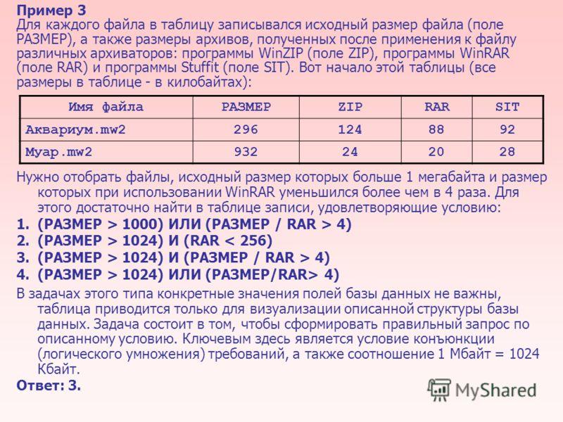 Пример 3 Для каждого файла в таблицу записывался исходный размер файла (поле РАЗМЕР), а также размеры архивов, полученных после применения к файлу различных архиваторов: программы WinZIP (поле ZIP), программы WinRAR (поле RAR) и программы Stuffit (по