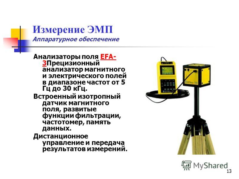 13 Измерение ЭМП Аппаратурное обеспечение Анализаторы поля EFA- 3Прецизионный анализатор магнитного и электрического полей в диапазоне частот от 5 Гц до 30 кГц.EFA- 3 Встроенный изотропный датчик магнитного поля, развитые функции фильтрации, частотом