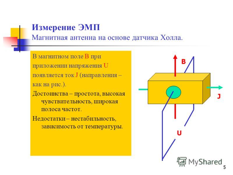 5 Измерение ЭМП Магнитная антенна на основе датчика Холла. В магнитном поле В при приложении напряжения U появляется ток J (направления – как на рис.). Достоинства – простота, высокая чувствительность, широкая полоса частот. Недостатки – нестабильнос