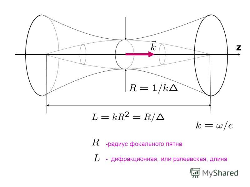 z -радиус фокального пятна - дифракционная, или рэлеевская, длина