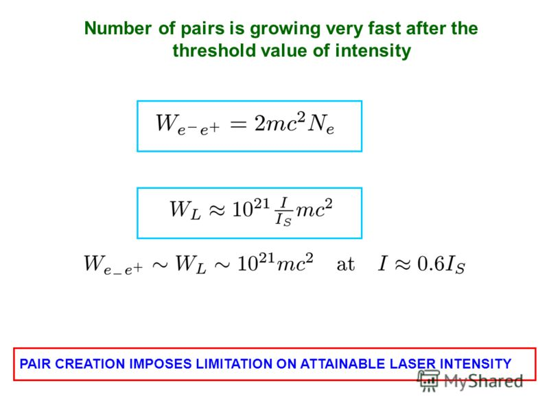 Compare the total energy of produced pairs with the energy of the laser pulse COLLAPSE OF THE LASER PULSE HENCE PAIR CREATION IMPOSES LIMITATION ON ATTAINABLE LASER INTENSITY Number of pairs is growing very fast after the threshold value of intensity