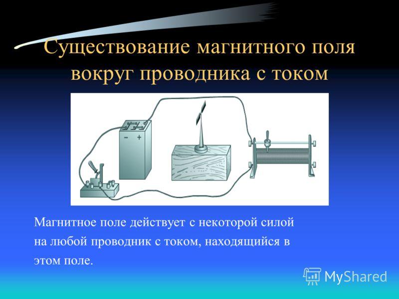 Существование магнитного поля вокруг проводника с током Магнитное поле действует с некоторой силой на любой проводник с током, находящийся в этом поле.