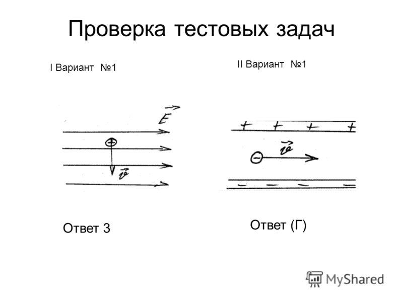 Проверка тестовых задач I Вариант 1 II Вариант 1 Ответ 3 Ответ (Г)