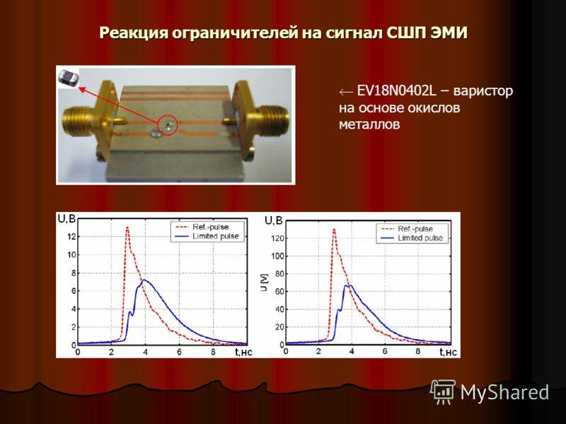 Реакция ограничителей на сигнал СШП ЭМИ EV18N0402L – варистор на основе окислов металлов