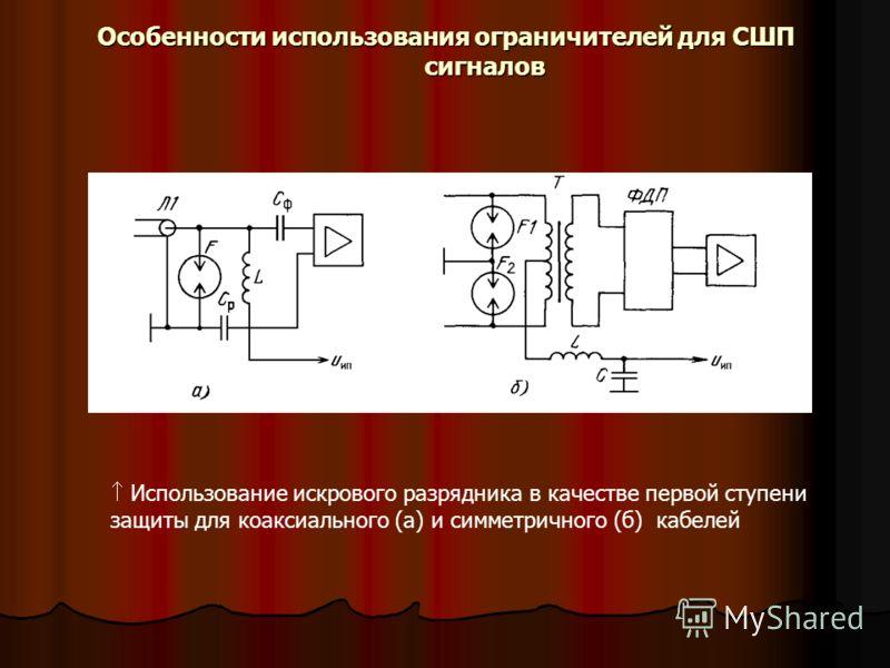 Использование искрового разрядника в качестве первой ступени защиты для коаксиального (а) и симметричного (б) кабелей