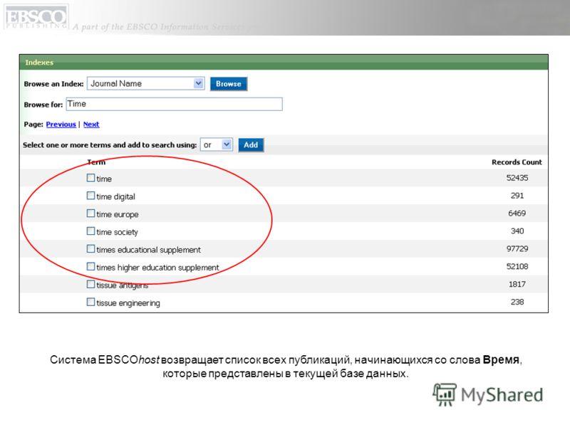 Система EBSCOhost возвращает список всех публикаций, начинающихся со слова Время, которые представлены в текущей базе данных.