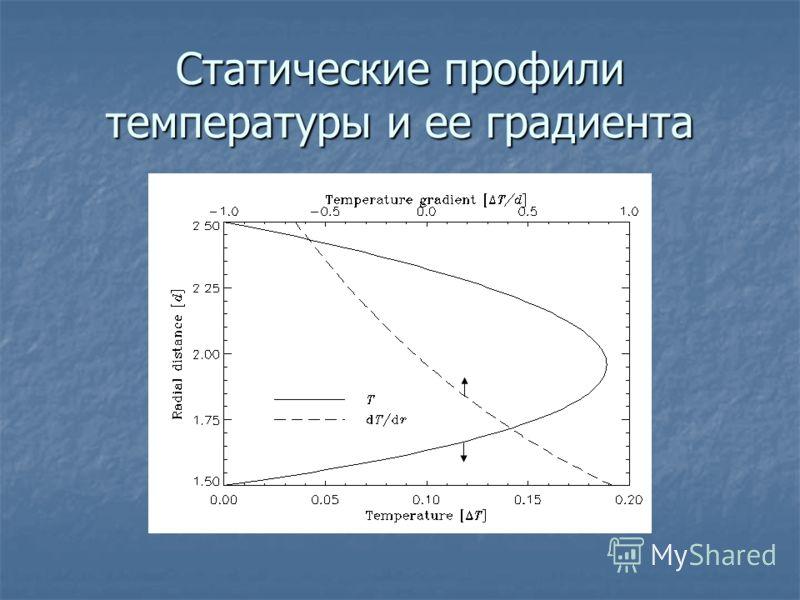 Статические профили температуры и ее градиента