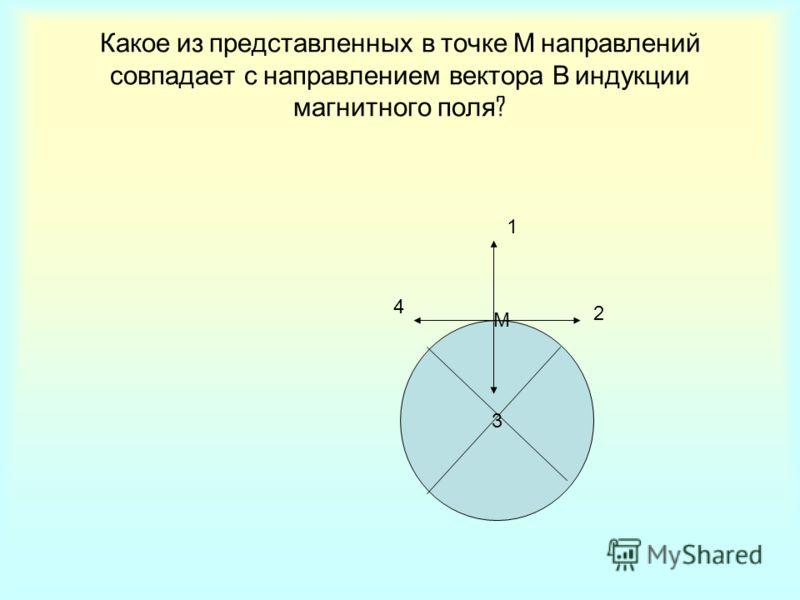 Какое из представленных в точке М направлений совпадает с направлением вектора В индукции магнитного поля ? 3 1 2 4 М