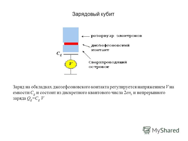 Зарядовый кубит Заряд на обкладках джозефсоновского контакта регулируется напряжением V на емкости С g и состоит из дискретного квантового числа 2еn s и непрерывного заряда Q g =C g V