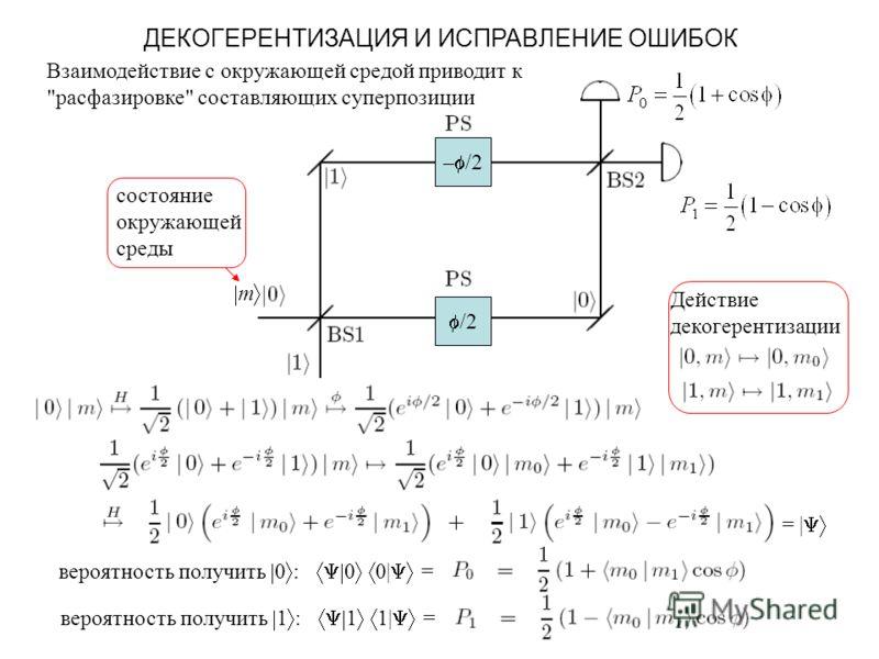 ДЕКОГЕРЕНТИЗАЦИЯ И ИСПРАВЛЕНИЕ ОШИБОК – /2 /2 Действие декогерентизации = | вероятность получить 0 : 0 0| = вероятность получить 1 : 1 1| = m состояние окружающей среды Взаимодействие с окружающей средой приводит к